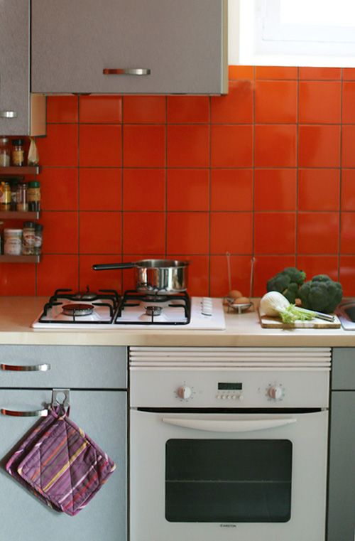 bright orange tile backsplash - photo #10