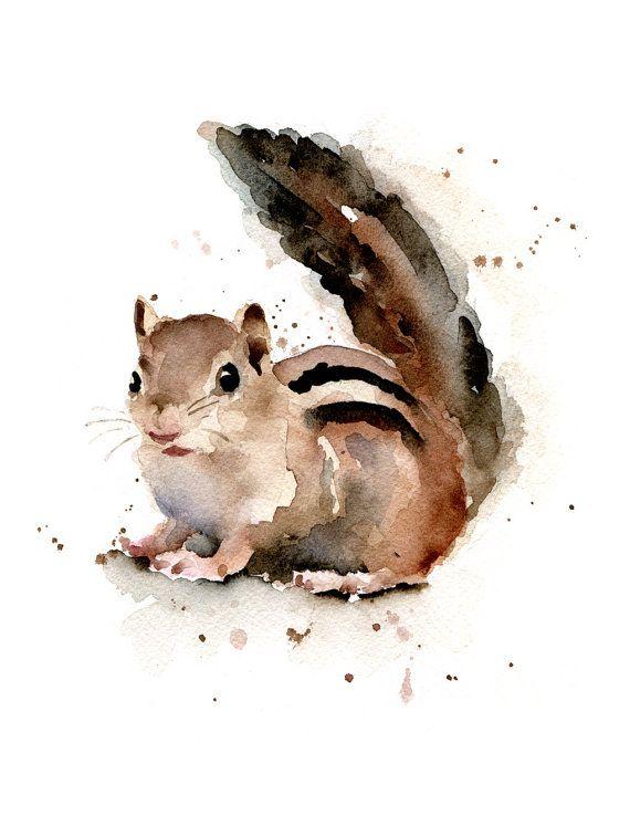 Impression dArt Chipmunk peinture par DJRogersWatercolors sur Etsy