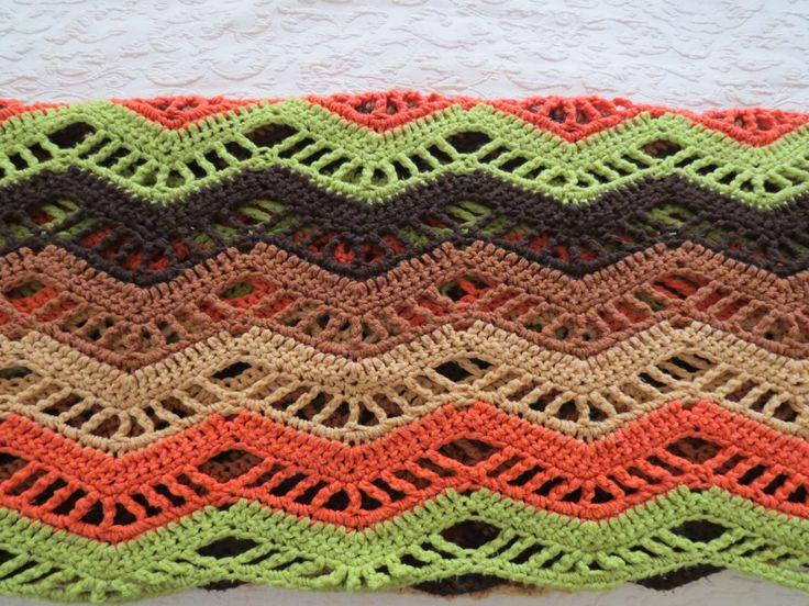 Afghan - Vintage Crochet Afghan - Chevron Afghan - Coral Avocado Green Brown - Striped Afghan - Open Weave Afghan = Free Shipping - 5MTT15 by VintageCocobytheLake on Etsy https://www.etsy.com/listing/234546413/afghan-vintage-crochet-afghan-chevron