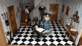 The hall in my dollhouse that I build in a display cabinet