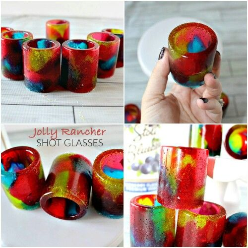 JOLLY RANCHER SHOT GLASSES:  Ooo!  You'll wow everyone with these homemade candy shot glasses!  You could serve all kinds of little treats in these!  There are more ideas here in the post:  SEE THEM ALL HERE: http://pubx.co/TPcmpt