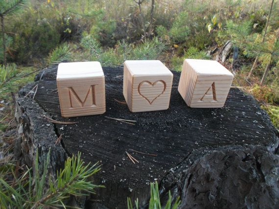 Wood name blocks personalized wooden blocks by WoodpeckerLG