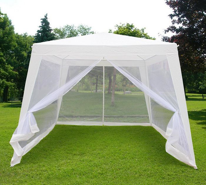 Trapezoid White Screen Tent With Enclosed Mesh Side Wall : screen tents for decks - memphite.com