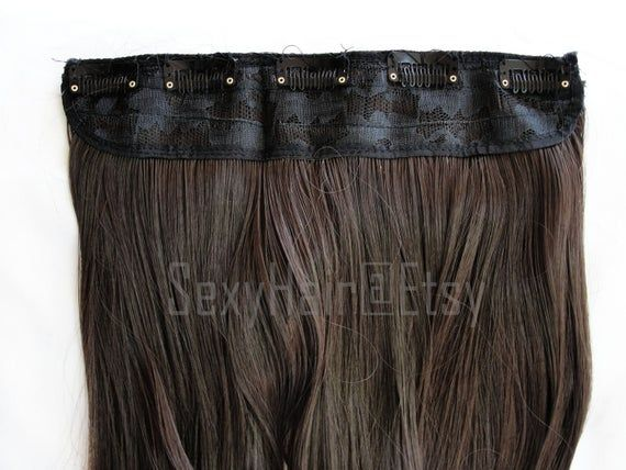 READY TO SHIP 24″ Medium Brown Hair Extensions, Medium Brown Hair, One Piece Multi-Weft Clip in Exte