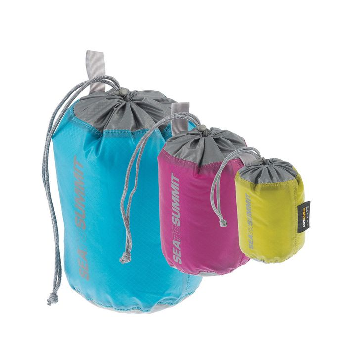 Sea to Summit Travelling Light Stuff Sack Set -- The stuff sack is an efficient way to pack loose items, especially clothing. Sea to Summit's Travelling Light Stuff Sack Set includes three small sacks made from a water resistant Ultra-Sil fabric. And each sack can be attached to the outside of your pack with a webbing loop.