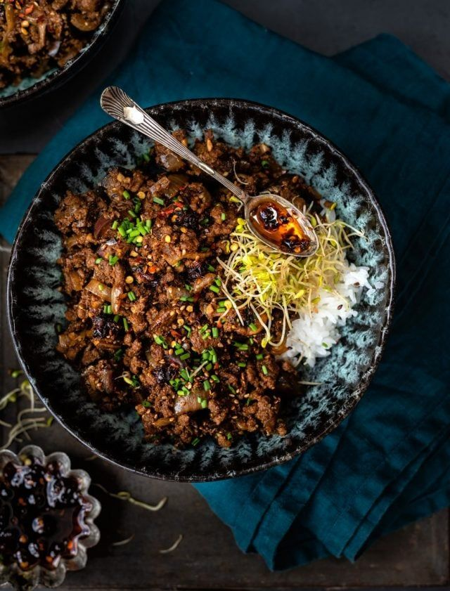 This Spicy Beef Mince Stir Fry With Eggplant And Mushrooms Is Perfect For A Quick Meal Serve With Rice Mince Recipes Healthy Spicy Beef Mince Recipes Dinner