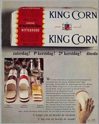 King Corn, Zweeds wittebrood, dat van 1965 tot begin jaren 70 populair werd door de commercial over Japie. video: https://www.facebook.com/jaren60/app_162891010412392