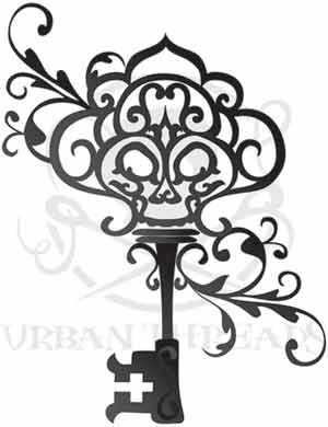 Think this would be an awesome idea for ink!! Love the look of vintage keys w/ a skull in it OMG I'm in LoVe :)  (Poster wrote- Urban Threads Skeleton Key - reference for a tattoo I want to try to draw)