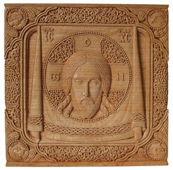 """Икона """"Спас на убрусе"""".  19,9х19,7х1,8 см., древесина бука, натуральная льняная олифа. 2011 г."""
