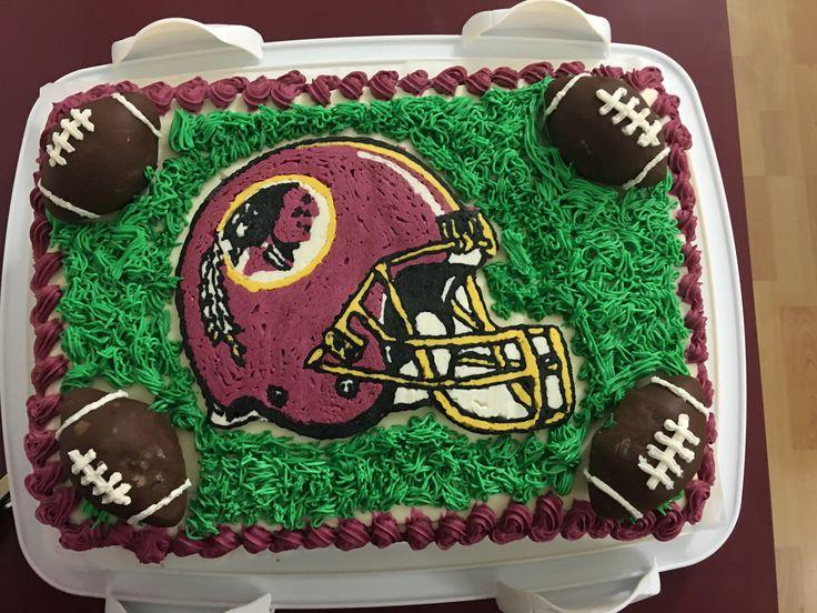 Washington Redskins inspired buttercream icing on a super moist red velvet cake for Butch's birthday April 8, 2017