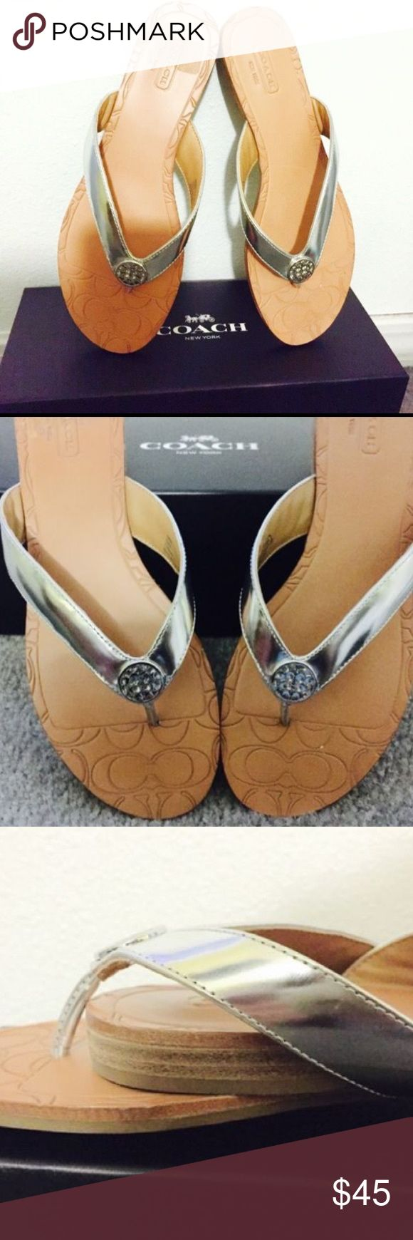 Coach Metallic Flip Flops Authentic and in like new condition. Coach Metallic Flip Flops. Size 7. Comes in original box. Coach Shoes Slippers