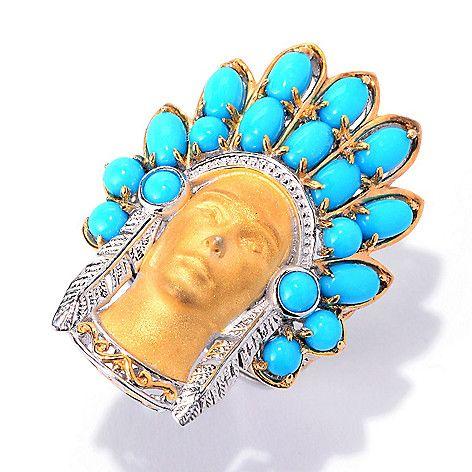 140-517 - Gems en Vogue Sleeping Beauty Turquoise Sculpted Warrior Ring