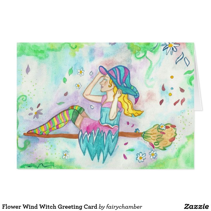 Flower Wind Witch Greeting Card
