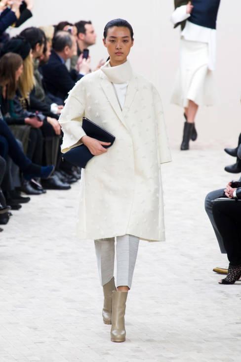 A coat as white as snow. Céline Fall 2013 #runway #fashionweek