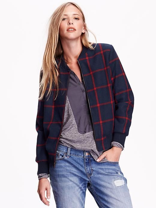 0e9a60042 Women's Plaid Wool-Blend Bomber Jacket | Passion for Women's Fashion ...