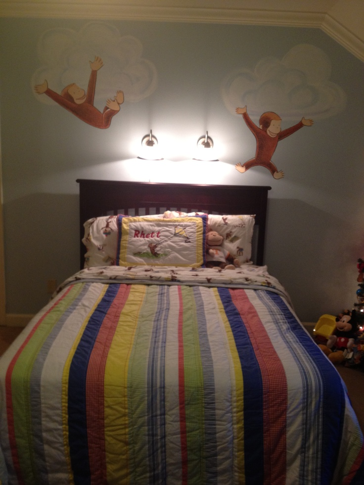 Rhett 39 s room 2 painted clouds pb kids curious george for Curious george bedroom ideas