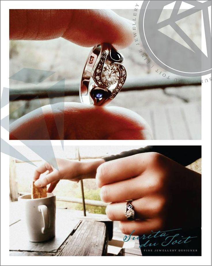 9K white gold engagement ring set with diamonds and natural sapphires. Manufactured by Surita du Toit.
