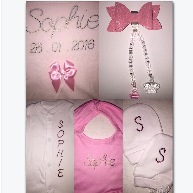 Sophie's personalised full set baby bling xxx blanket, baby grow, bib, pram charm and scratch mitts xxx