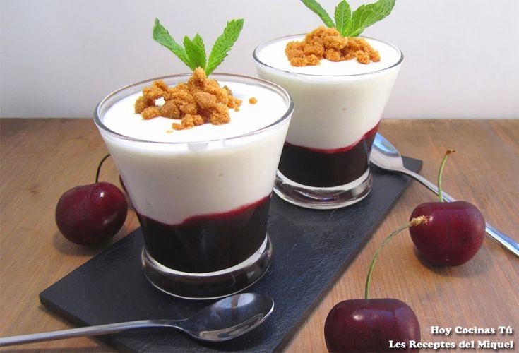 Cremoso de mascarpone y yogur, colis de cerezas