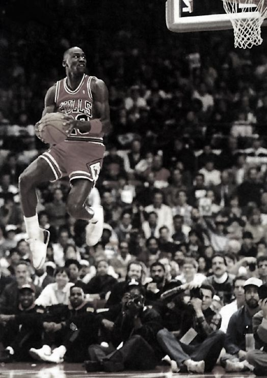 "Michael Jordan Dunk. ""Hey guys, I'm gonna hover here for a quick minute, k? I'll be down in a sec"""