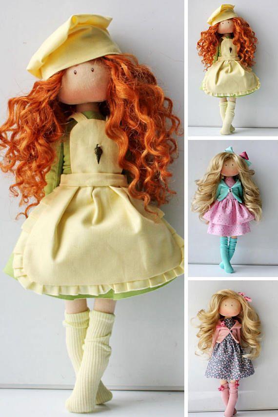 Textile doll Rag doll Tilda doll Fabric doll Muñecas Yellow