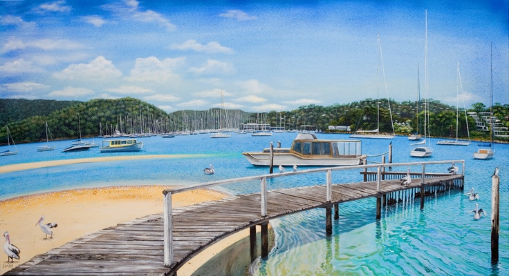 Winnerrery Bay: commissioned painting -a customer who lives on this bay in Sydney's Pittwater.
