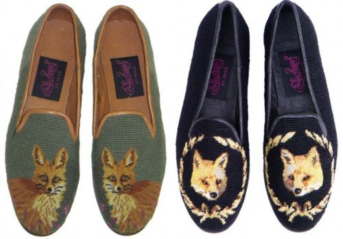 //Loafers, Fashion, Needlepoint, Style, Flats, Foxes Slippers, Foxy, Animal, Foxes Shoes