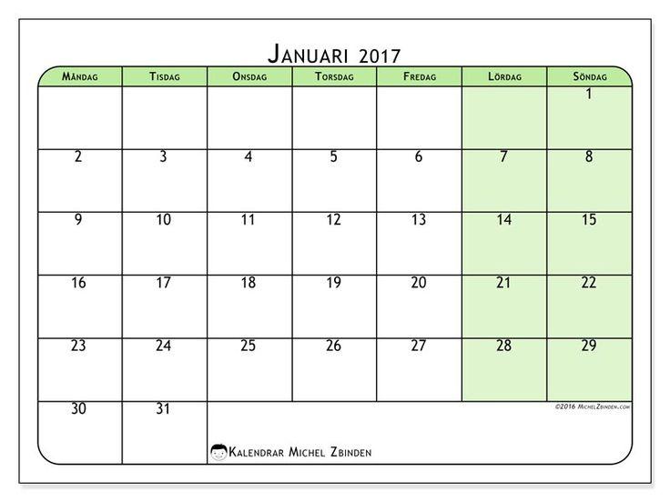 Gratis! Kalender för januari 2017 för att skriva ut