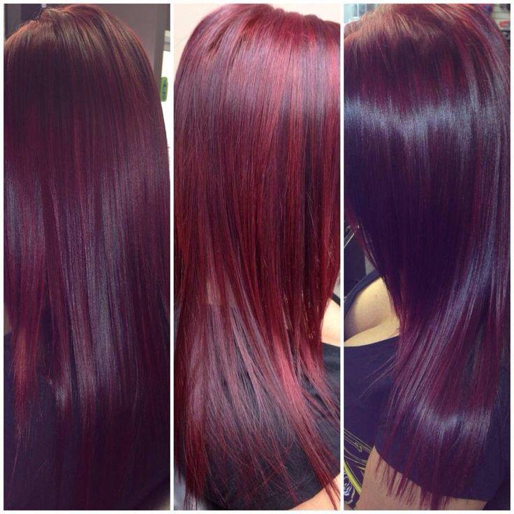 Red violet hair using Schwarzkopf color