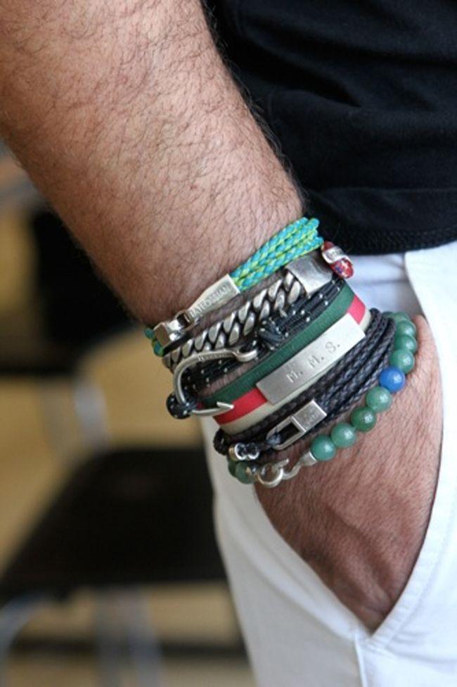 mens style stacked bracelets