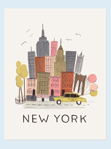 New York City art print created from an original gouache painting by Anna Bond of Rifle Paper Co. Printed on natural white paper. Print is 11