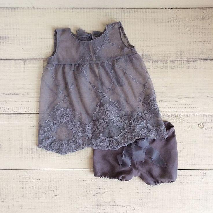 Ажурное платьице с трусиками (серое)