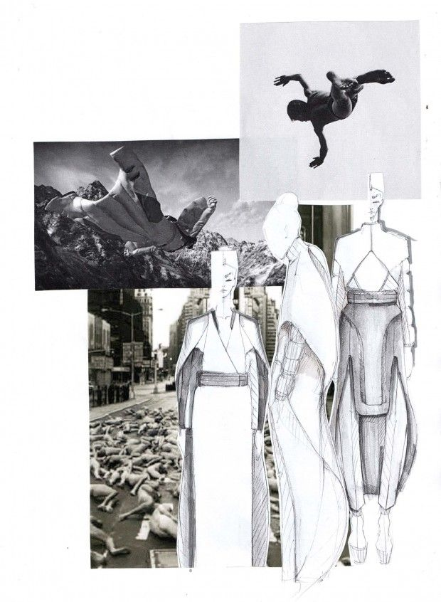 "Fashion Sketchbook - ""Falling"" collection development; fashion illustrations & inspirations; fashion portfolio // Mirjam Maeots"