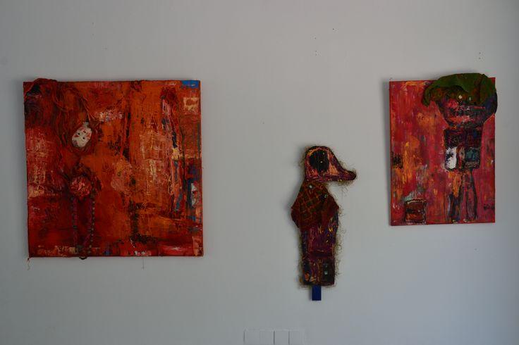 IRTI! & The Saint Duck & The Birdwatcher - oil, wood and textile 2012-2015 Annukka Mikkola