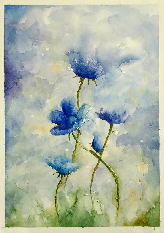 Original Watercolor Painting Of A Girl Painting Of The Flowers