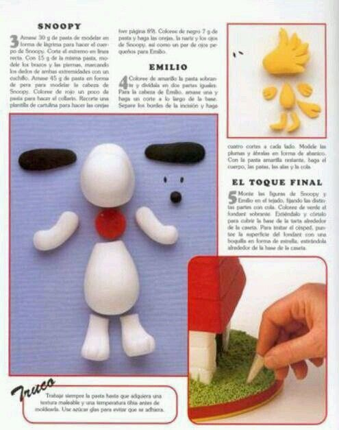 how to make snoopy out of fondant