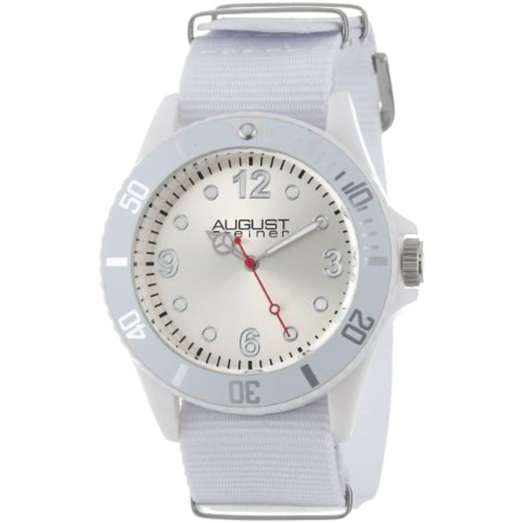 August Steiner Kids' AS8061WT Juniors White Plastic Watch with Nylon Band * You can get more details by clicking on the image. (This is an affiliate link) #Accessories
