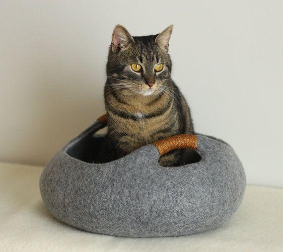 Kat bed/kat huiskat/grot/mand vilten kat bed van elevele op Etsy