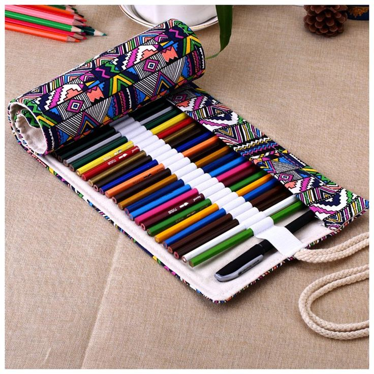 Canvas Wrap Roll Up Pencil Bag Pen Case Holder Storage Pouch 48 Holes-in Pencil Cases from Office & School Supplies on Aliexpress.com | Alibaba Group