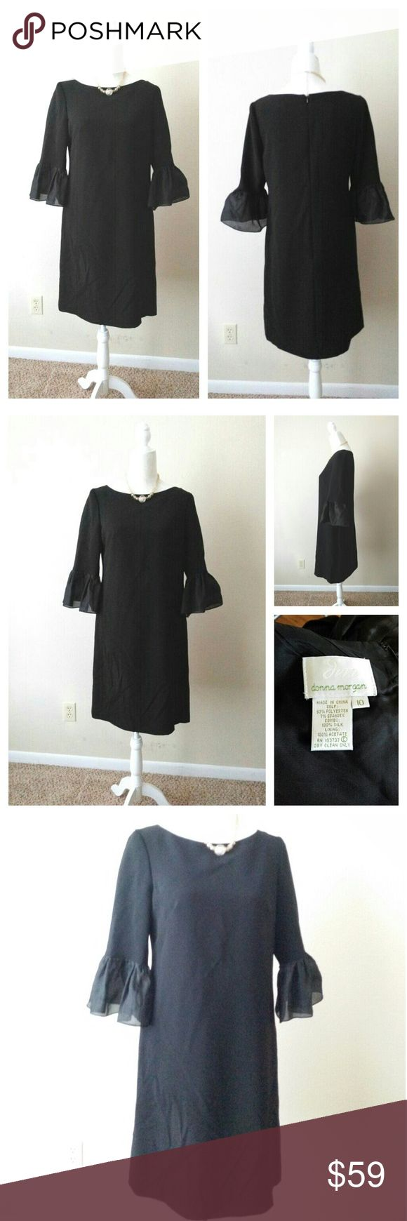 "Donna Morgan bell sleeves black dress sz 10 Donna Morgan bell sleeves black dress sz 10 Approx measurements Bust 38"" Waist 39"" Hips 40"" Length 37"" Sleeves 18"" S to S 15.5"" Zipper 21"" Dry clean only  Great condition Donna Morgan Dresses"