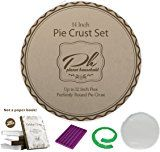Pie Accessories Set for Pie Baking and Decoration with Free eBook with Pie Making Tips – 14 Inch No-Mess Easy Pie Crust Maker Bag, Decorative Pie Crust Mat & Pie Crust Shield by Planet Household