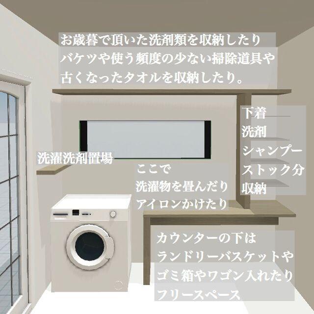 我が家の脱衣室は 雨天はランドリールームにもなり カウンターで洗濯