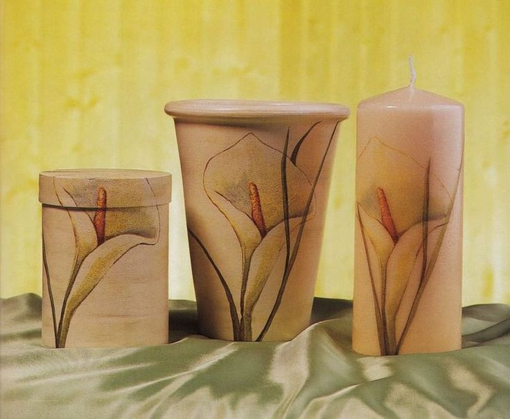 Lumanare, vaza si cutie decorate cu cale