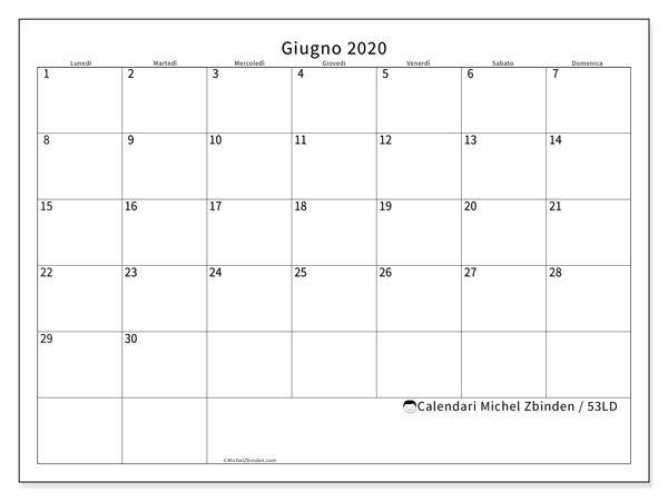 Calendario 53ld Giugno 2020 Da Stampare Calendario Stampabile Calendario Stampabile Gratis Calendario