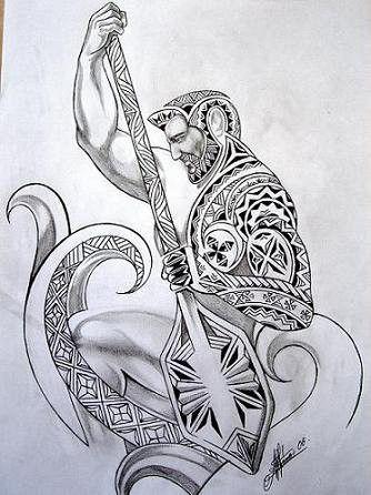Dessin Polynésien Fiji Samoa avec vagues rame et homme, ideal for men attoo