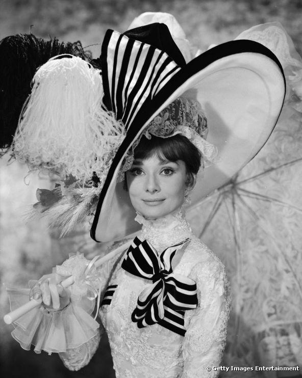 """Audrey Hepburn en el rodaje de """"My Fair Lady"""", en 1964."""