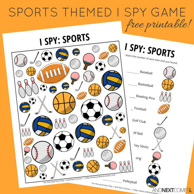 sports themed i spy game free printable for kids and next comes l pinterest spy games. Black Bedroom Furniture Sets. Home Design Ideas