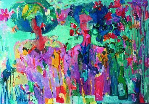 "Obraz ""Zagubione w kwiatach | Lost in flowers"", oil on paper, 1993 [nr kat. 13-05] signed: B.Wąsowska; © Beata Wąsowska"