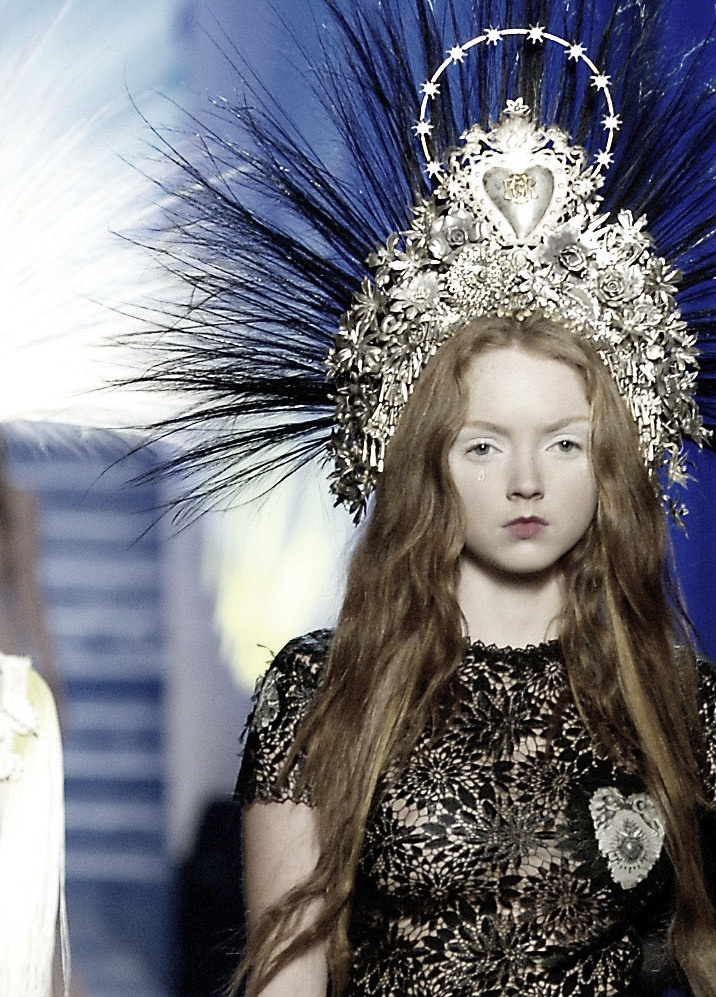 Gaultier headpiece and black lace