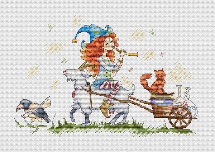 Амели на козе, схема для вышивки, арт. МЕ-007 Екатерина Мешкова | Купить онлайн на Mybobbin.ru